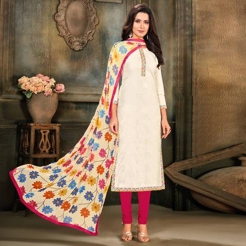 Eye-catching White Colored Partywear Embroidered Chanderi Cotton Dress Material