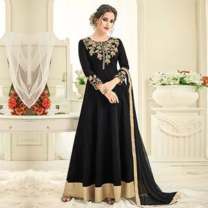 Arresting Black Embroidered Designer Tapetta Silk Abaya Style Anarkali