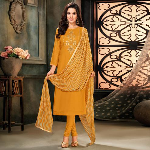 Fantastic Yellow Colored Partywear Embroidered Chanderi Cotton Dress Material