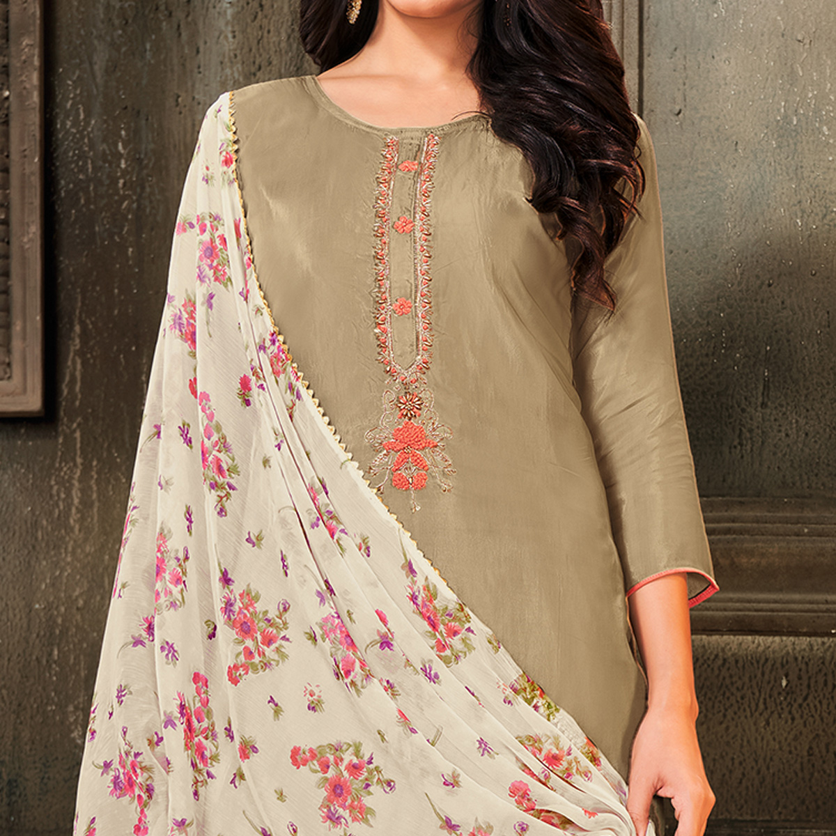 Amazing Chikoo Colored Partywear Embroidered Chanderi Cotton Dress Material