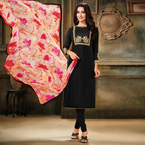 Gorgeous Black Colored Partywear Embroidered Chanderi Cotton Dress Material