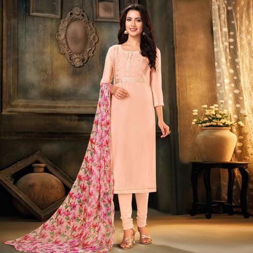 Blissful Light Pink Colored Partywear Embroidered Chanderi Cotton Dress Material