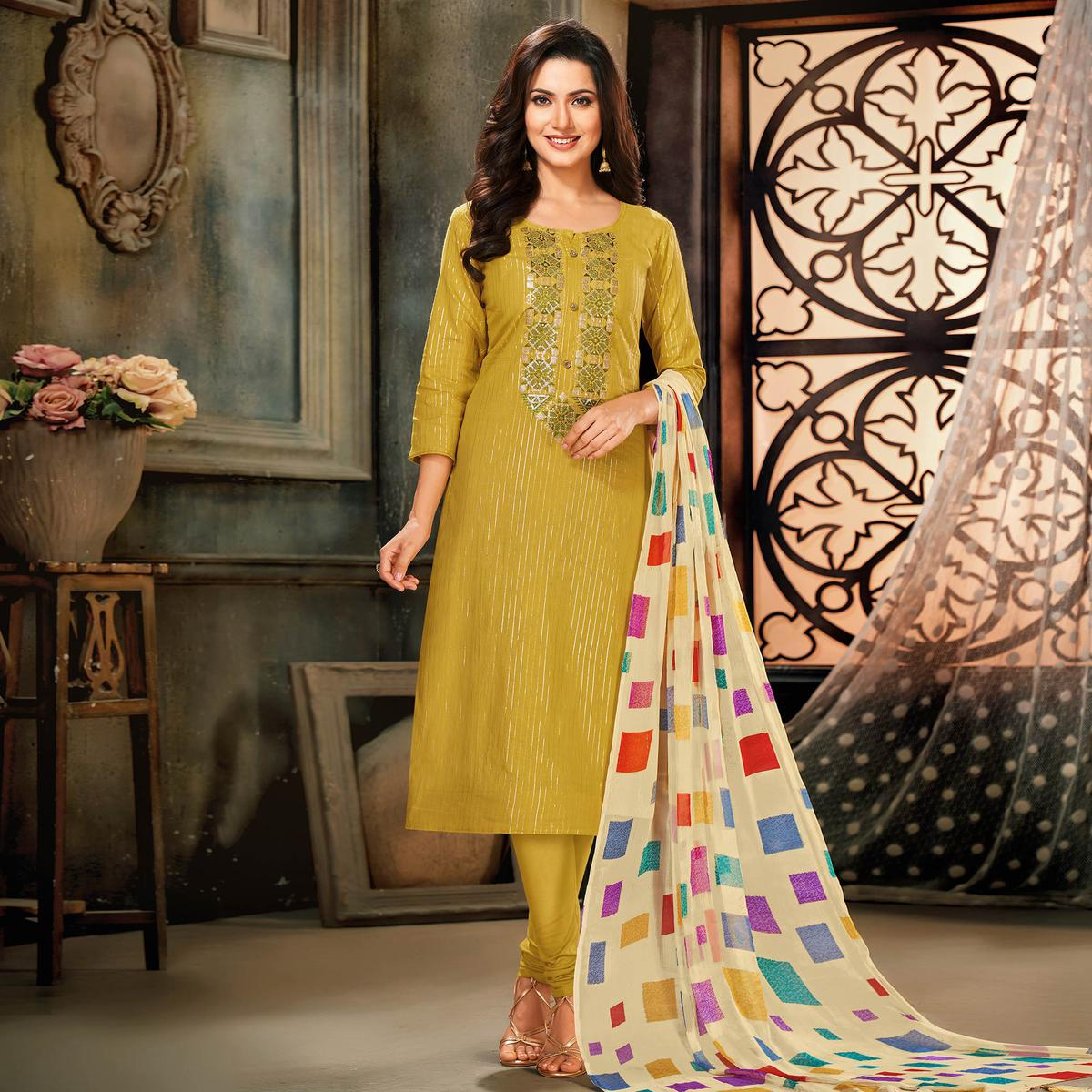 Ideal Mehendi Green Colored Partywear Embroidered Chanderi Cotton Dress Material