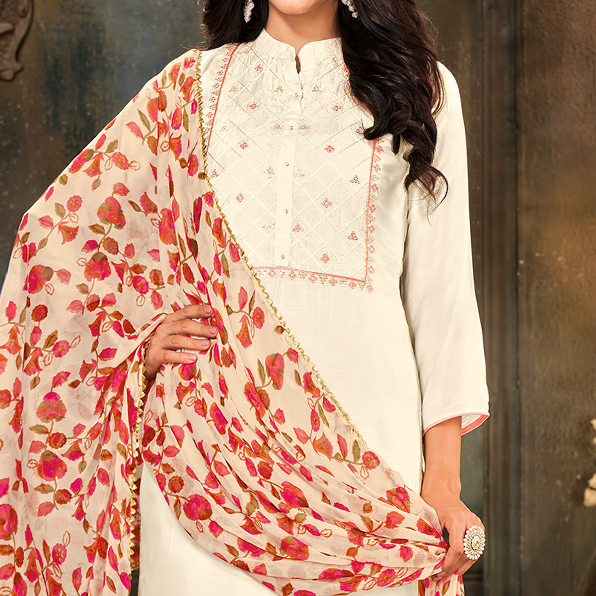 Imposing Offwhite Colored Partywear Embroidered Chanderi Cotton Dress Material