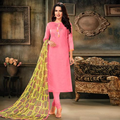 Lovely Pink Colored Partywear Embroidered Chanderi Cotton Dress Material