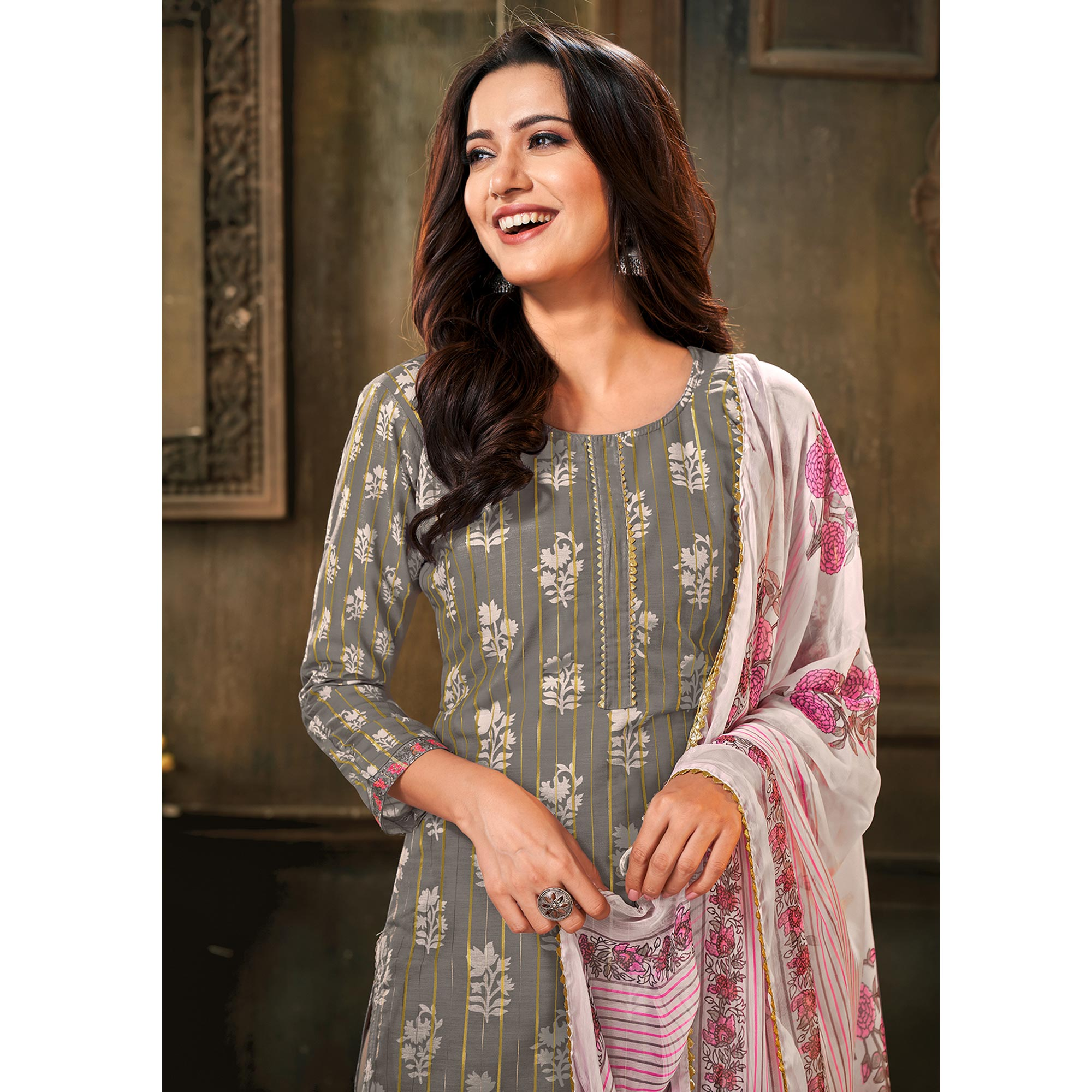 Majesty Grey Colored Partywear Embroidered Chanderi Cotton Dress Material
