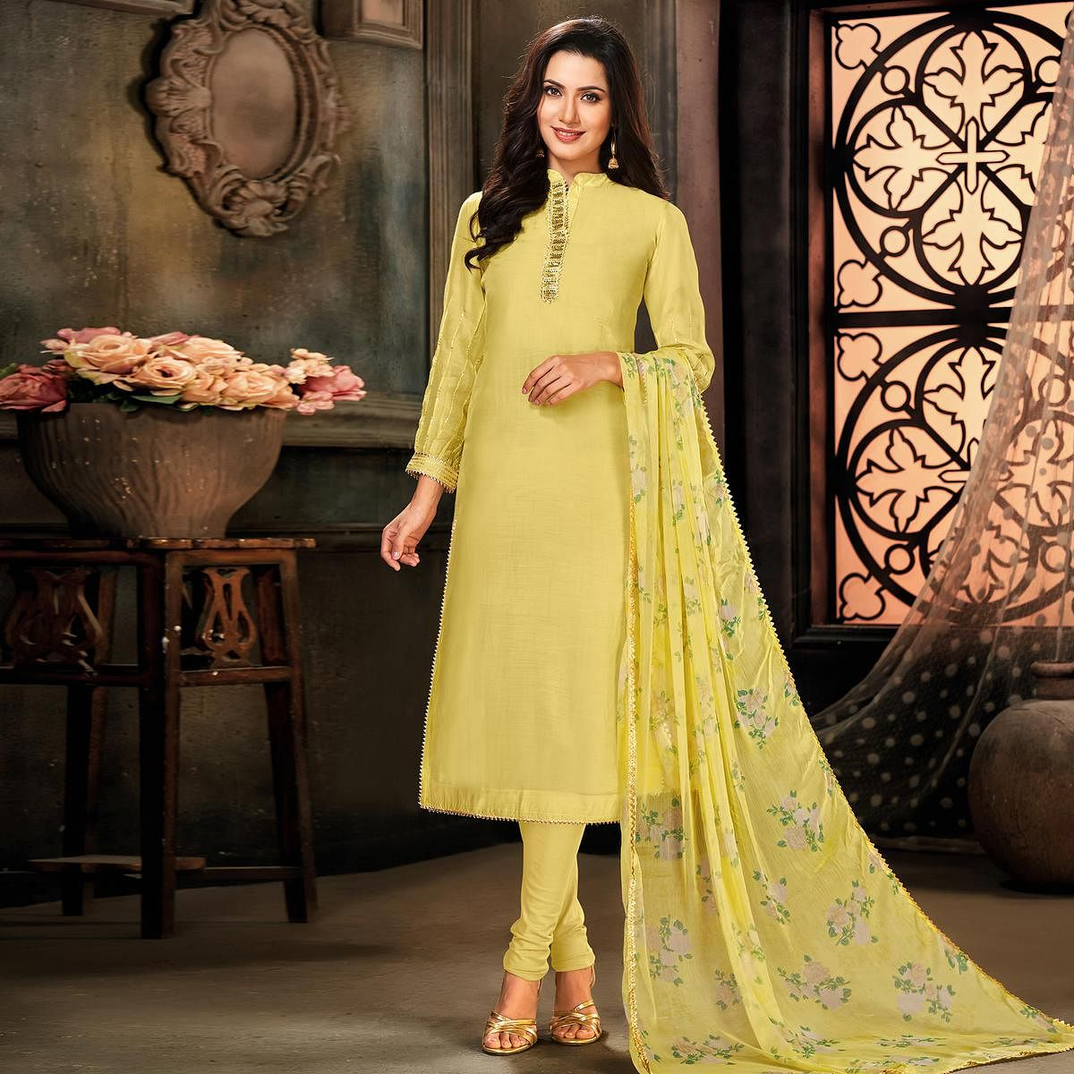 Impressive Lemon Yellow Colored Partywear Embroidered Chanderi Cotton Dress Material
