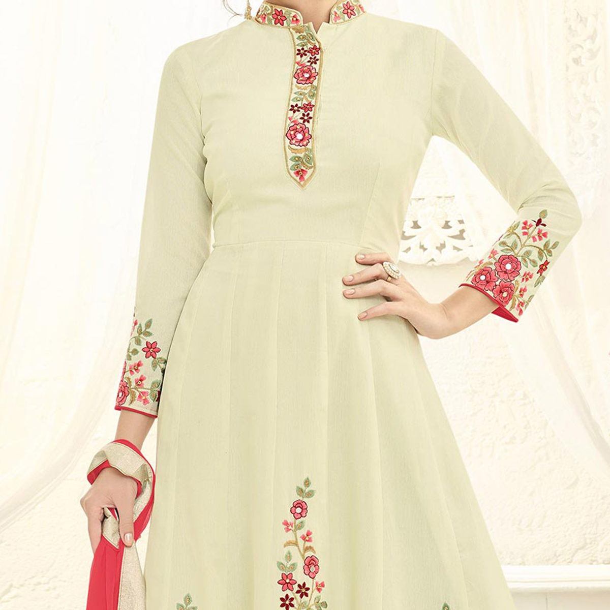 Classy Cream Floral Embroidered Floor Length Abaya Style Anarkali
