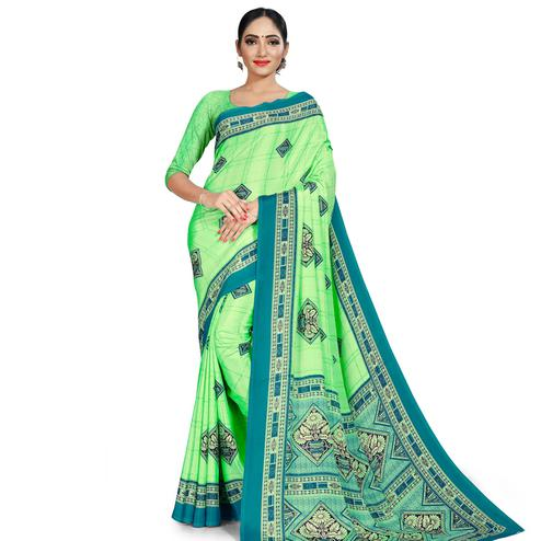 Intricate Green Colored Casual Wear Printed Crepe Saree