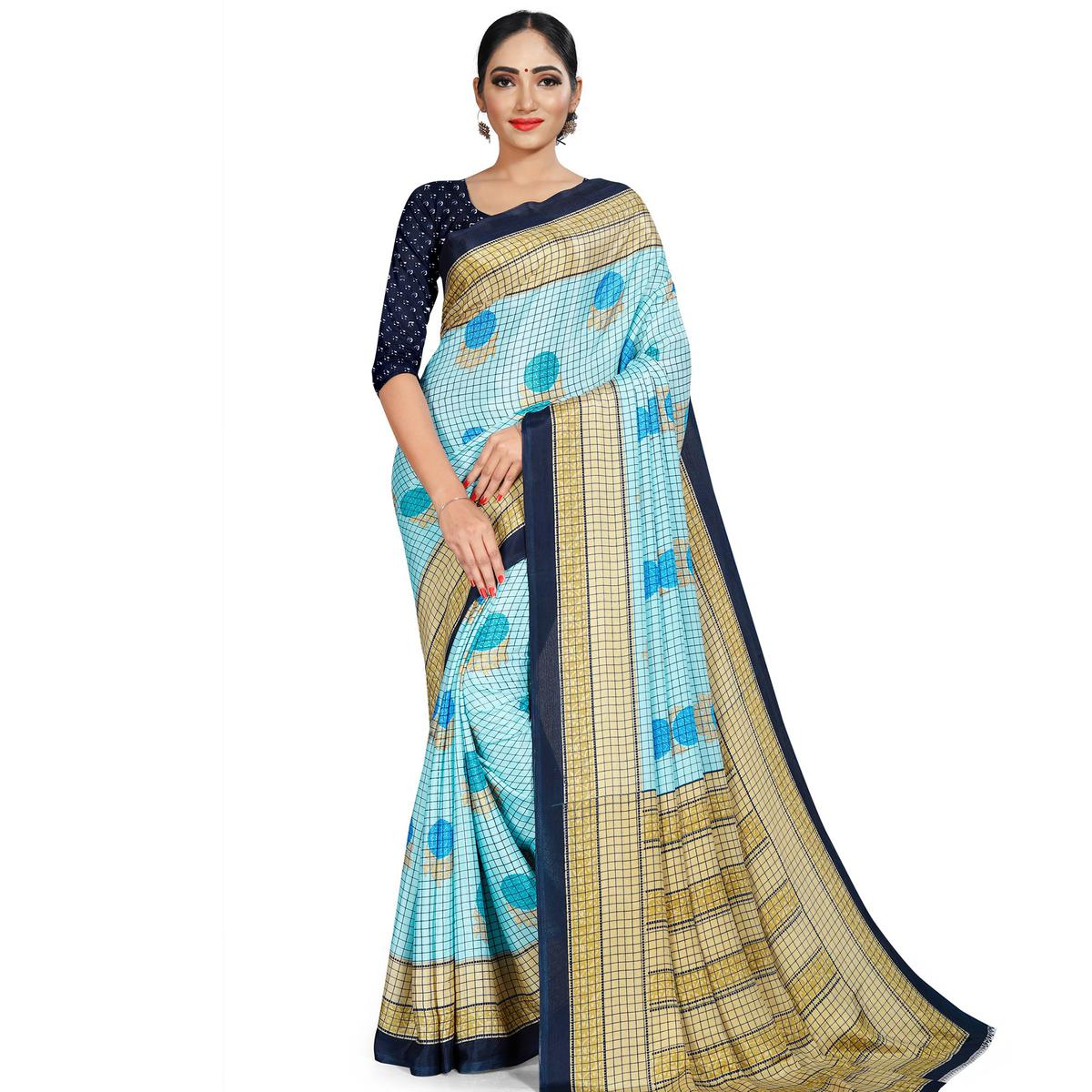Sophisticated Sky Blue Colored Casual Wear Printed Crepe Saree
