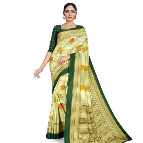 Trendy Light Green Colored Casual Wear Printed Crepe Saree