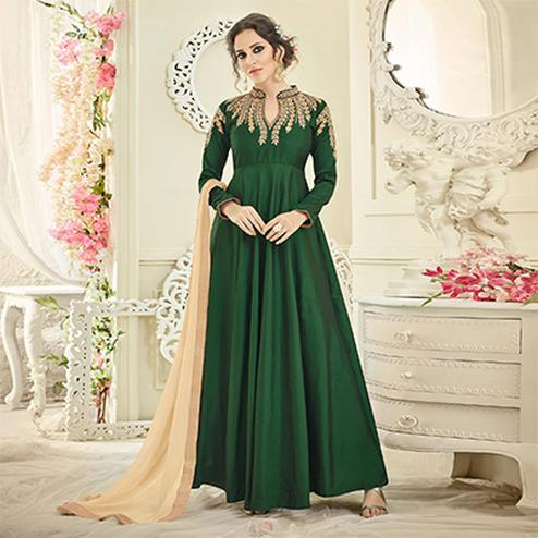 Graceful Green Collar Neck Embroidered Designer Tapetta Silk Abaya Style Anarkali