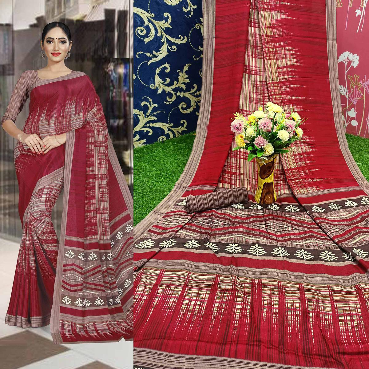 Gleaming Maroon Colored Casual Wear Printed Crepe Saree