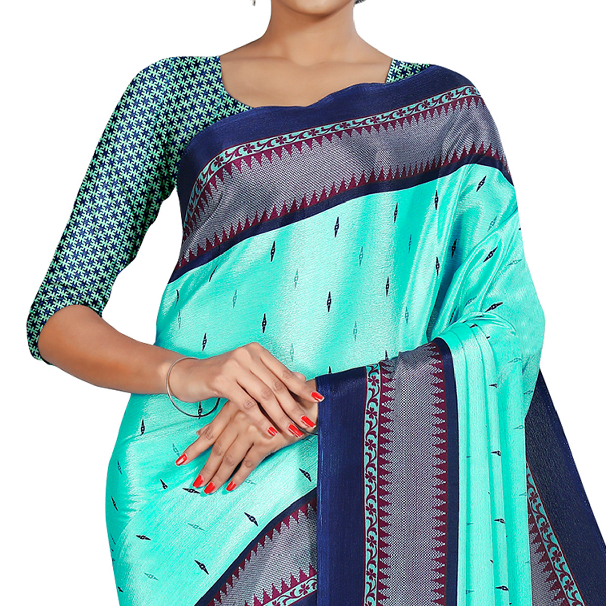 Magnetic Aqua Blue Colored Casual Wear Printed Crepe Saree
