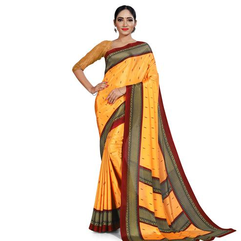 Hypnotic Mustard Yellow Colored Casual Wear Printed Crepe Saree