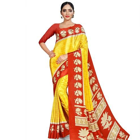 Flattering Yellow Colored Casual Wear Printed Crepe Saree