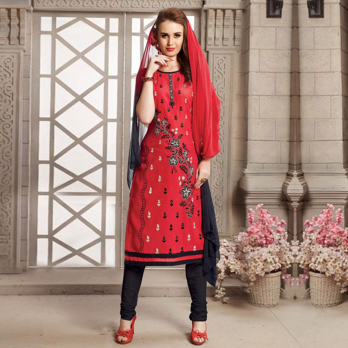 Red Floral Embroidered Poly Cotton Dress Material