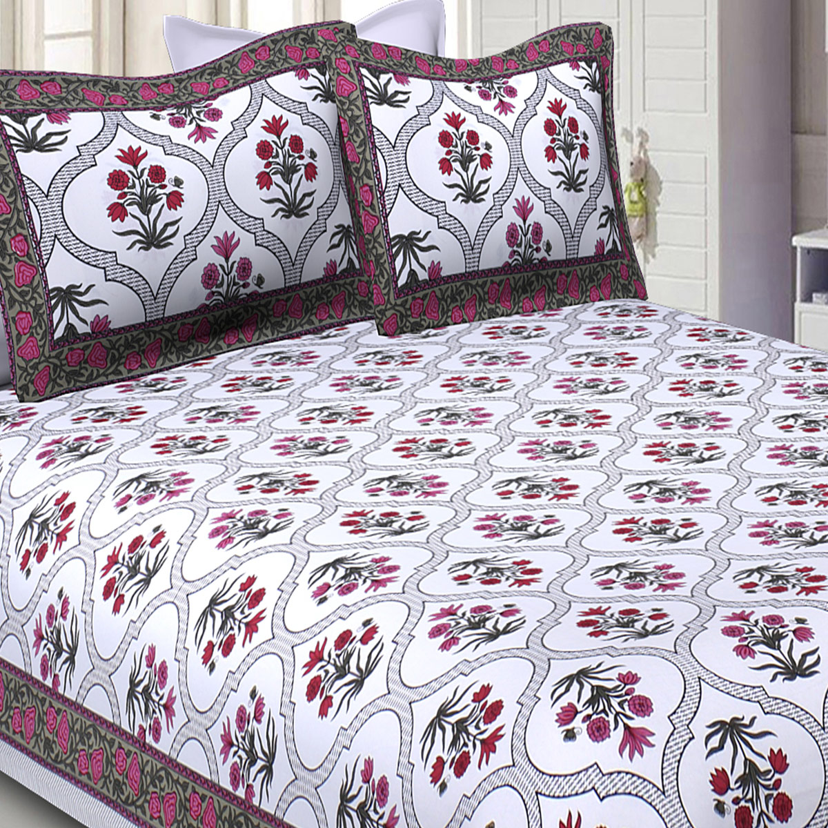 Capricious Pink Colored Printed Pure Cotton Double Bedsheet