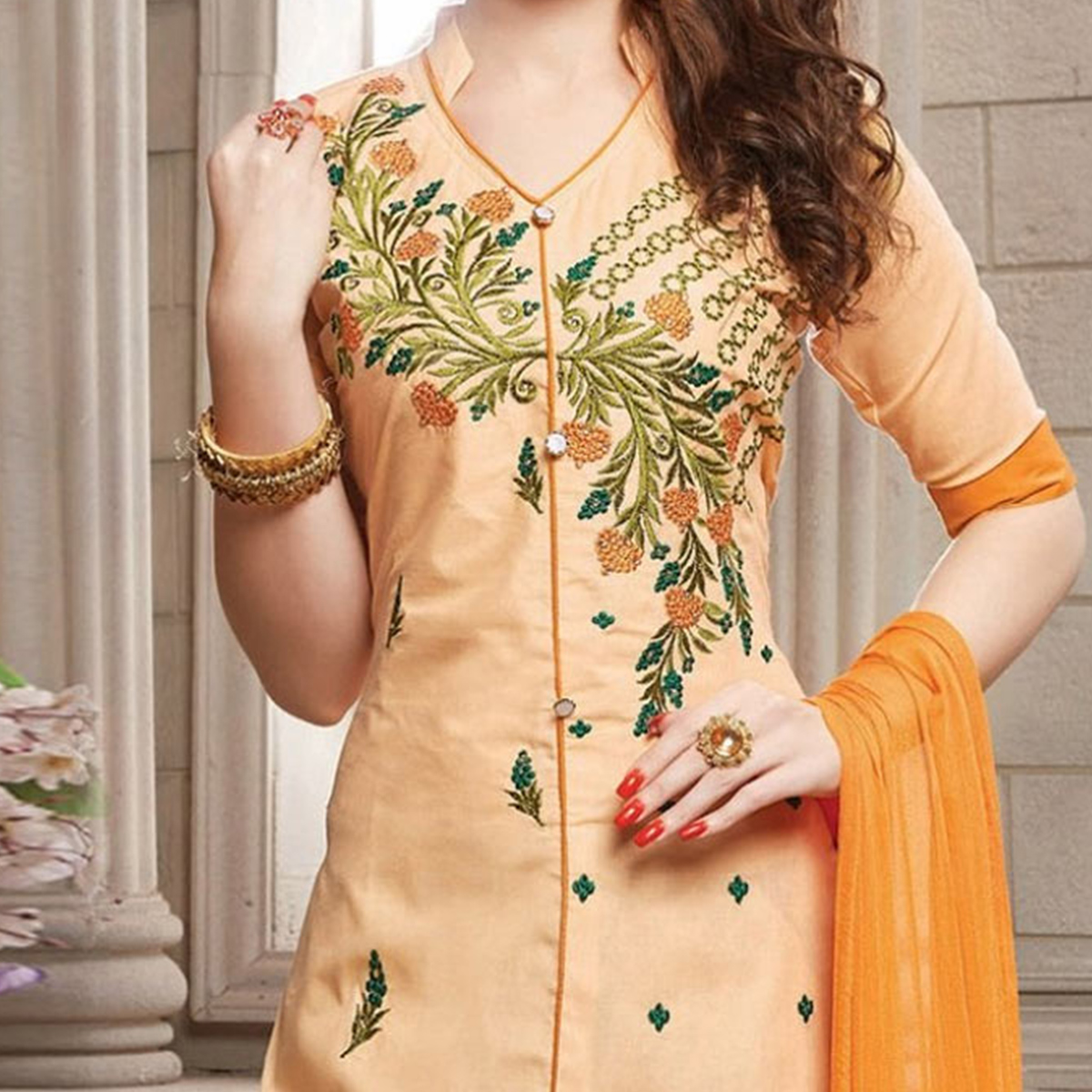 Peach Floral embroidered Casual Wear Poly Cotton Suit