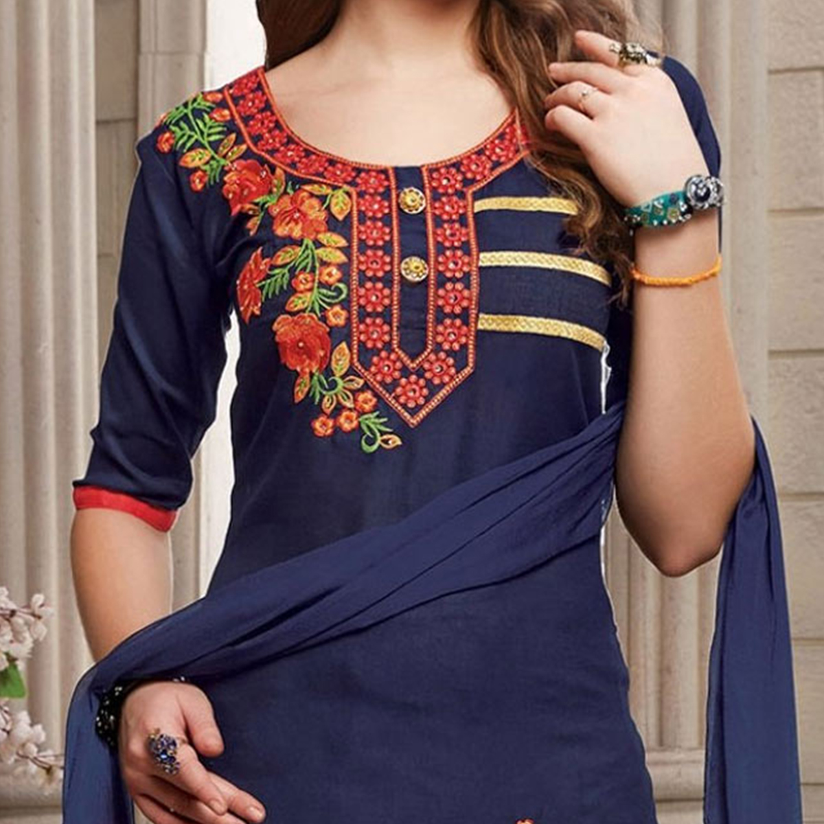 Blue Floral Embroidered Work Poly Cotton Unstitched Dress Material