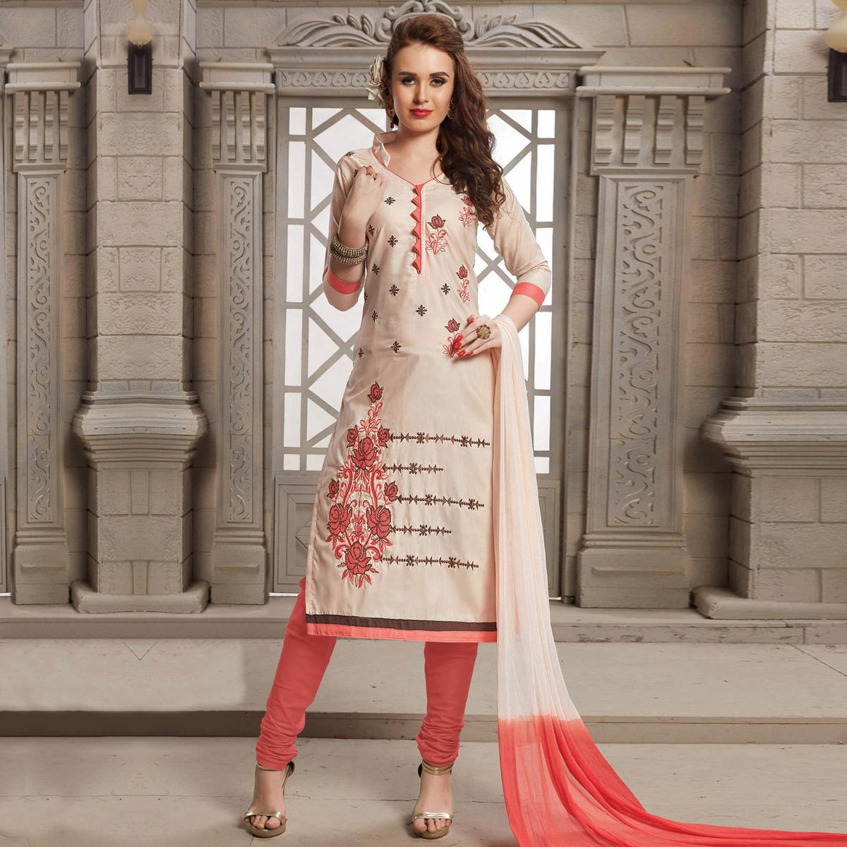 Light Pink Embroidered Work Casual Wear Poly Cotton Suit