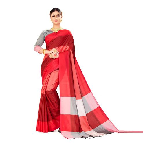 Amegh - Red Color Casual Cotton Silk Saree