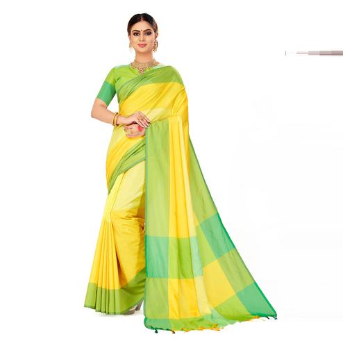 Amegh - Yellow Color Casual Cotton Silk Saree