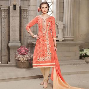 Orange Floral Embroidered Work Casual Wear Poly Cotton Dress Material