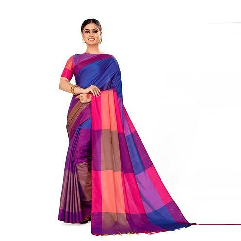 Amegh - Purple & Navy Blue Color Casual Cotton Silk Saree