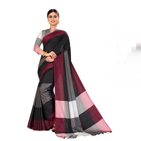 Amegh - Grey & Black Color Casual Cotton Silk Saree