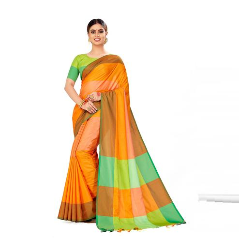 Amegh - Yellow & Peach Color Casual Cotton Silk Saree