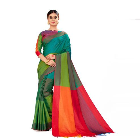 Amegh - Green Color Casual Cotton Silk Saree