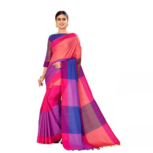 Amegh - Pink & Peach Color Casual Cotton Silk Saree