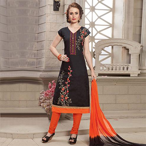 Black Embroidered Work Casual Wear Poly Cotton Dress Material