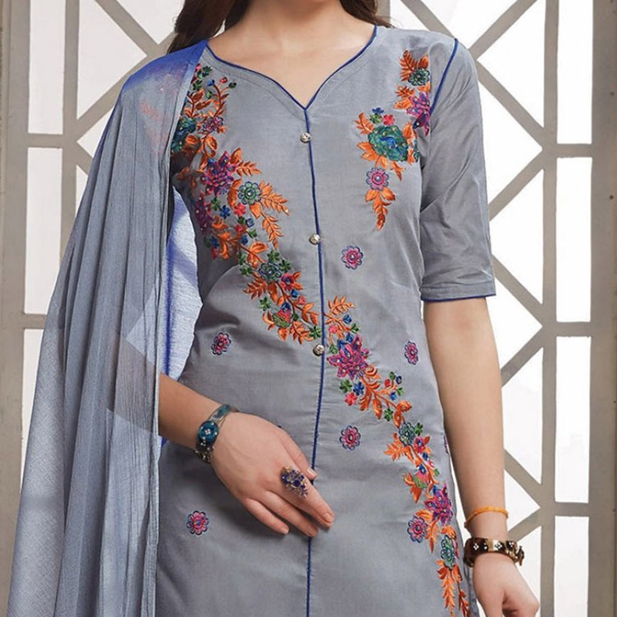 Grey Floral Embroidered Work Straight Cut Poly Cotton Dress Material