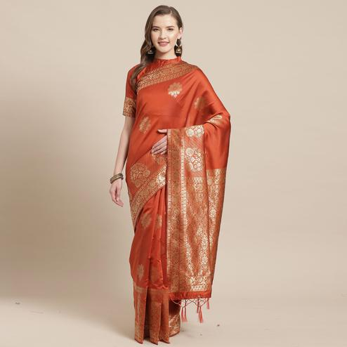 Adorable Rust Colored Festive Wear Woven Silk Blend Saree