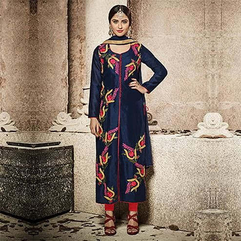 Beautiful Navy Blue Designer Embroidered Glass Cotton Salwar Suit