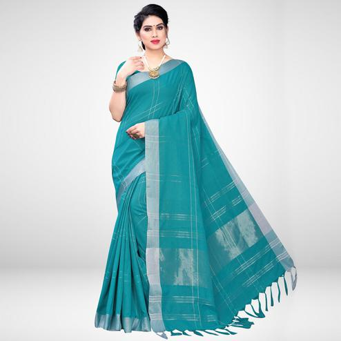 Graceful Teal Green Colored Casual Wear Printed Cotton Blend Saree