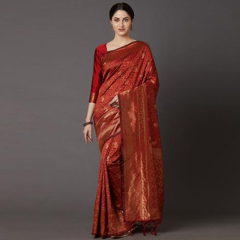 Adorable Maroon Colored Festive Wear Woven Silk Blend Saree