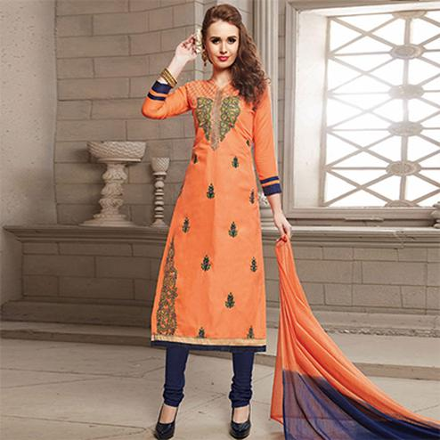 Orange Embroidered Work Straight Cut Poly Cotton Unstitched Suit