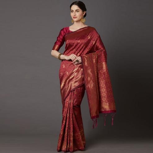 Innovative Maroon Colored Festive Wear Woven Silk Blend Saree