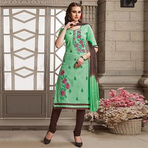 Green Floral Embroidered Work Poly Cotton Unstitched Dress Material