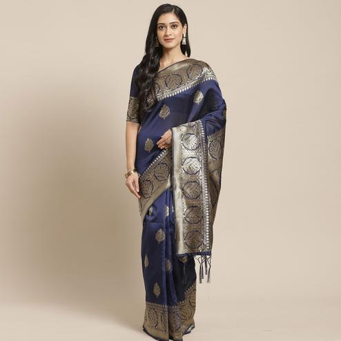 Staring Navy Blue Colored Festive Wear Woven Silk Blend Saree