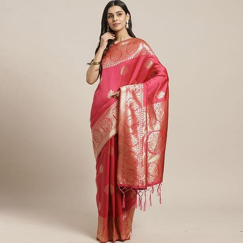 Dazzling Pink Colored Festive Wear Woven Silk Blend Saree
