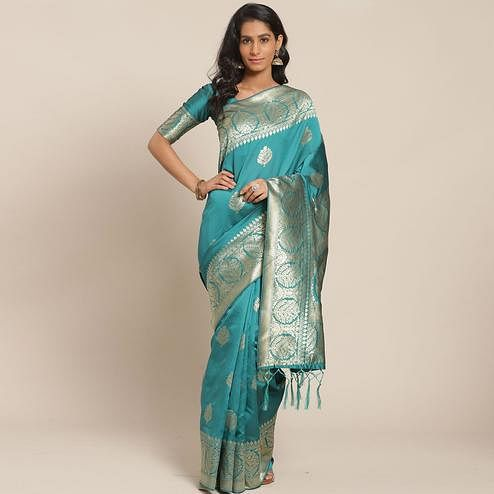 Surpassing Teal Green Colored Festive Wear Woven Silk Blend Saree