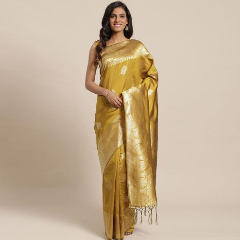 Intricate Gold Colored Festive Wear Woven Silk Blend Saree