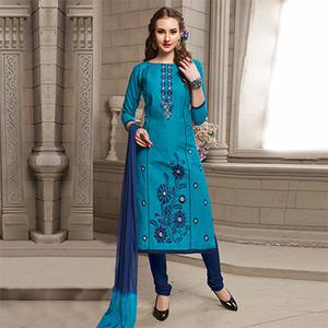 Dark Blue Floral Embroidered Work Casual Wear Poly Cotton Suit