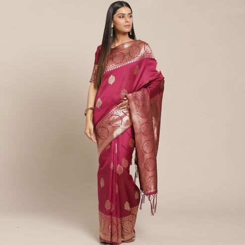 Arresting Magenta Colored Festive Wear Woven Silk Blend Saree