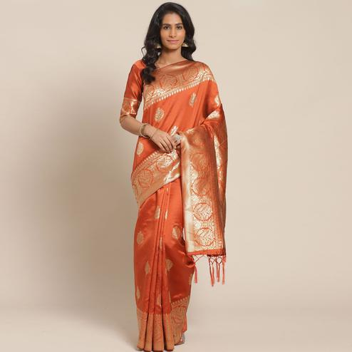 Desirable Rust Colored Festive Wear Woven Silk Blend Saree