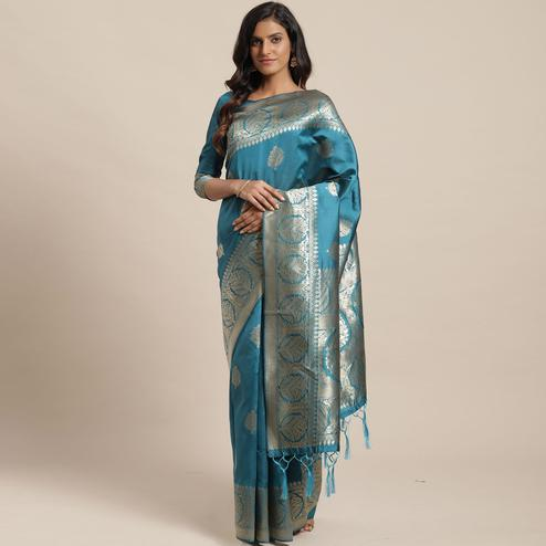 Exotic Teal Blue Colored Festive Wear Woven Silk Blend Saree